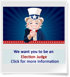 image of Uncle Sam pointing finger stating we want you to volunteer as an election judge click for more information.
