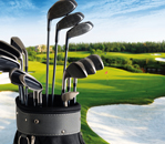 image of golf course with golf bag