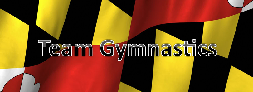 banner image background maryland state flag with team gymnastics text written on flag.
