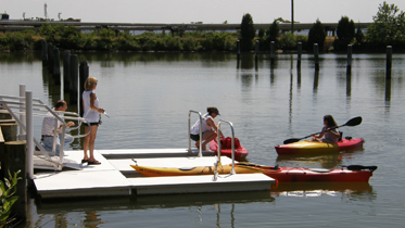 image of kayaks and kayak launch