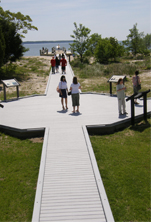 image of piney point lighthouse walkway to pier