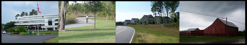 image banner displaying a building, bicycle path, homes and farmland