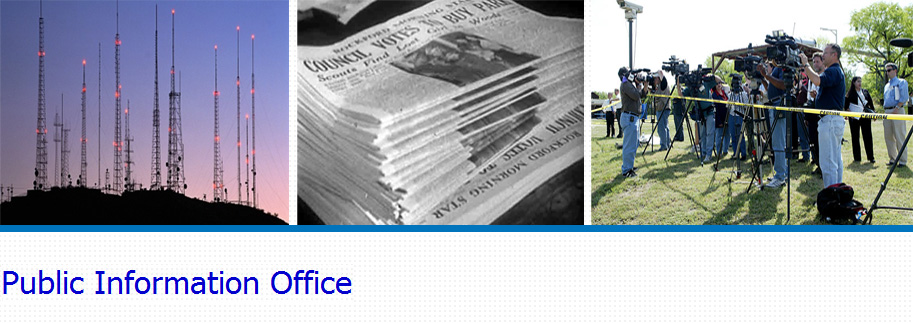 image banner displaying air station towers, stack of newspapers and press and media conference outdoors