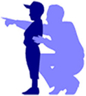 Silhouette image of adult mentoring child