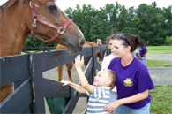 image of child with staff member petting a horse