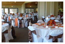 image of dining area set up for wedding reception