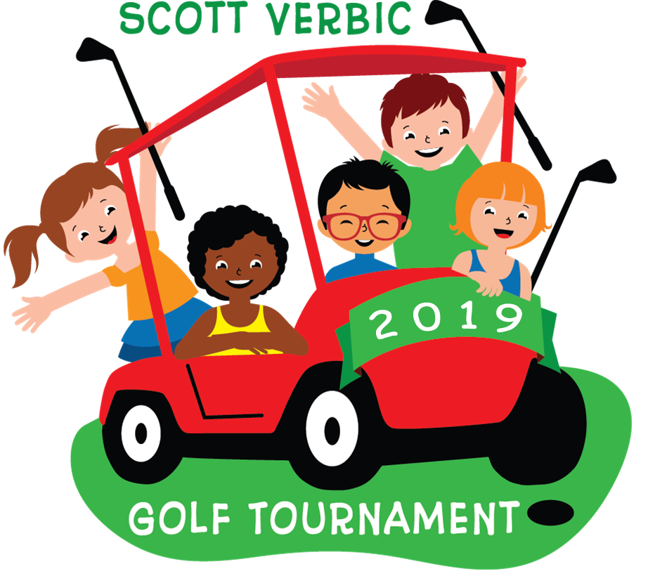 image logo of children riding on golf cart